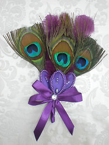 Peacock Feather Corsage Boutonniere w/ Pin, Wedding Prom PURPLE BLUE TURQUOISE