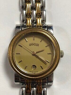 Authentic Vintage GUCCI 4300L Stainless Steel Two-tone Gold Dial Date Watch