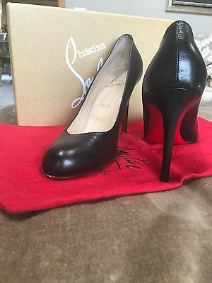 Christian Louboutin Simple 100 Black Leather Pump 40.5 Black Leather Simple Pumps