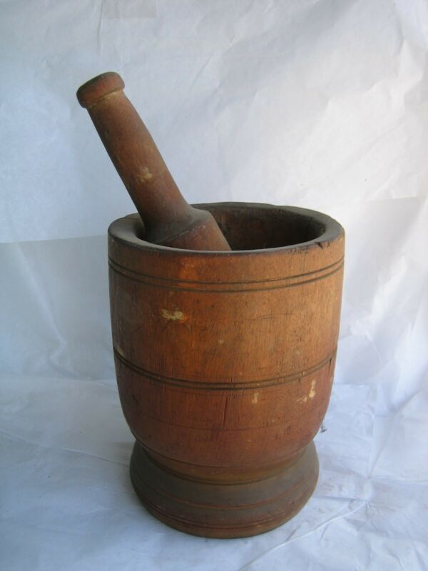 VINTAGE Wooden Mortar and Pestle-Aged Apothecary Rx Medical Mixer Drugstore Bowl