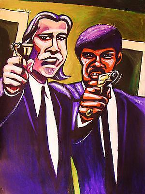 Pulp Fiction Print Poster John Travolta Samuel L  Jackson Tarantino Pistol Movie