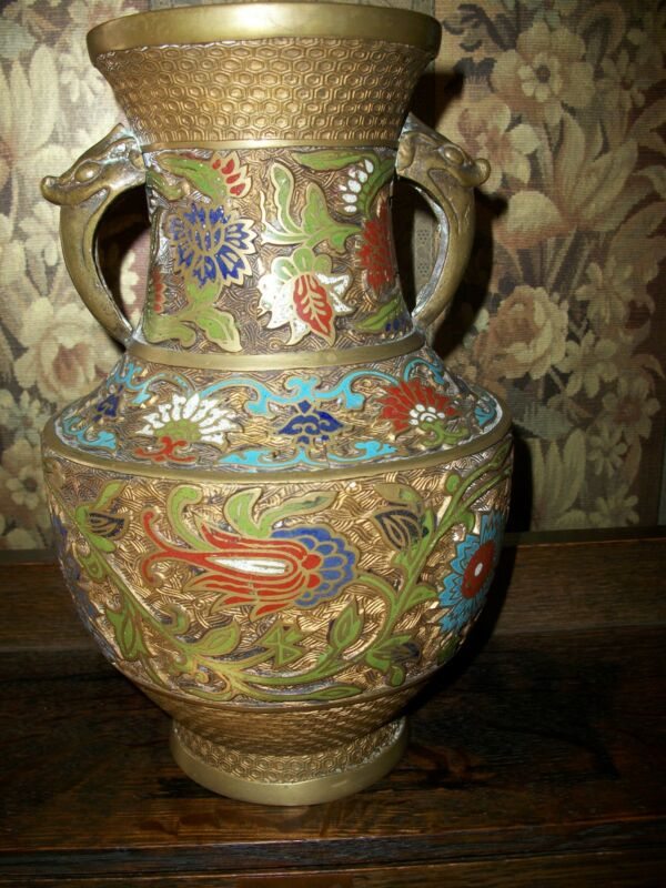 """Antique Hand Painted """"Champleve/Cloisonne"""" VASE Large Rare URN Bronze from JAPAN"""