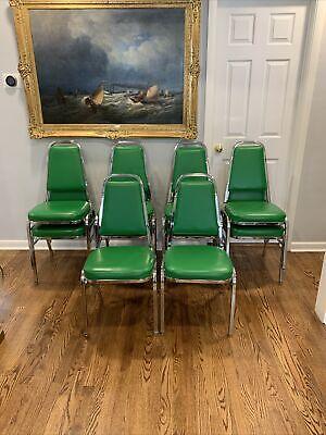 10 - Bertolini Banquet Chairs -- Green Cushioned Interlocking Stackable