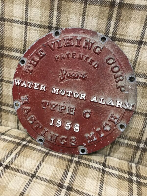 Vintage Metal Industrial Water Motor Alarm Advertising Sign -The Viking Corp