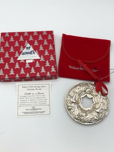 """Wallace 1999 Annual Sterling Silver""""Turtle Doves"""" Wreath Ornament, gently used"""