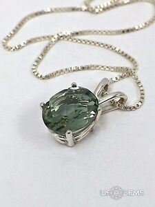 925 Sterling Silver pendant natural Amethyst green Chain Necklace Jewelry. @