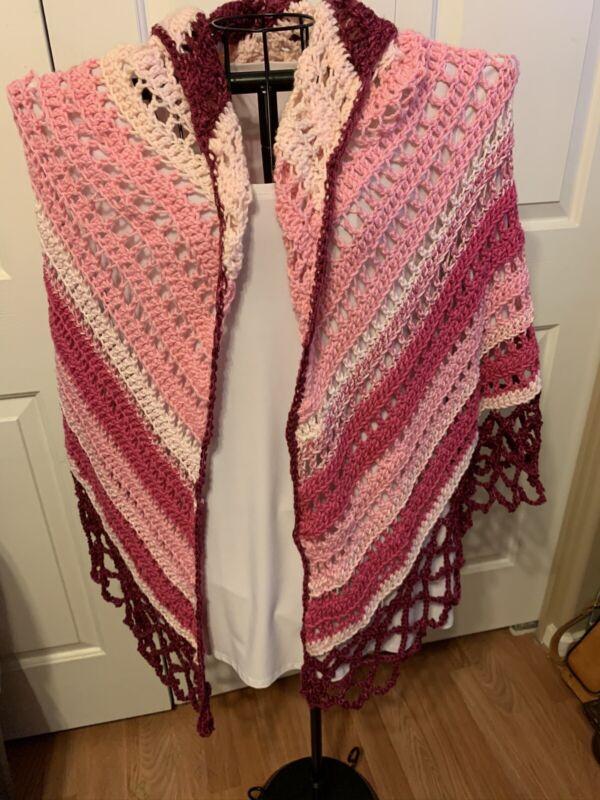 Handmade Crochet Shawl In Pinks