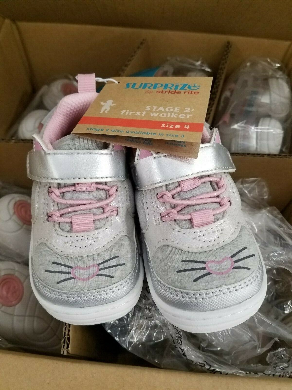 Stride Rite Surprize Baby Toddler KITTY Silver Shoes Sneaker