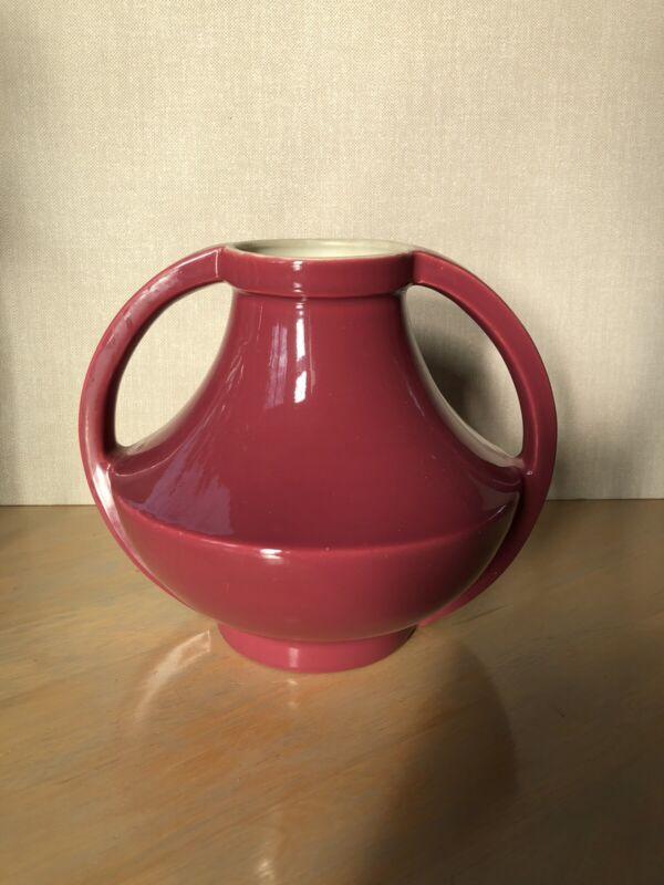 "Coors Art Deco ""Golden"" Burgandy Glossy Glaze Vase"
