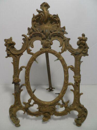 """Vtg Antique Cast Brass Bronze Easel Back Ornate Frame 13"""" tall"""