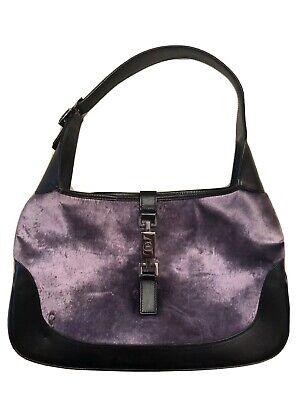 GUCCI Jackie O Black Leather Purple Velvet Velour Piston Lock Shoulder Bag