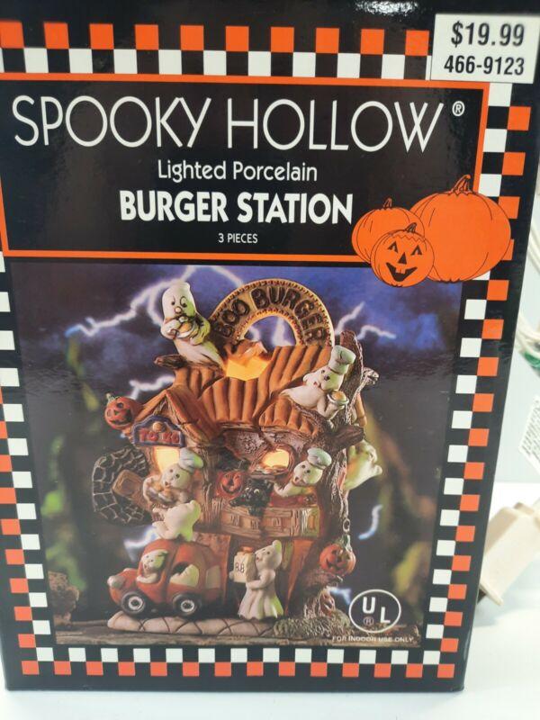 Spooky Hollow Burger Station Halloween Village Porcelain Vintage Lighted 1999