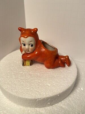 Vintage Porcelain Ceramic Little Red Devil Figurine Tooth Pick Holder