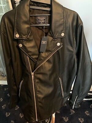 ABERCROMBIE & FITCH MEN'S FAUX LEATHER MOTO JACKET XL NEW WITH TAGS