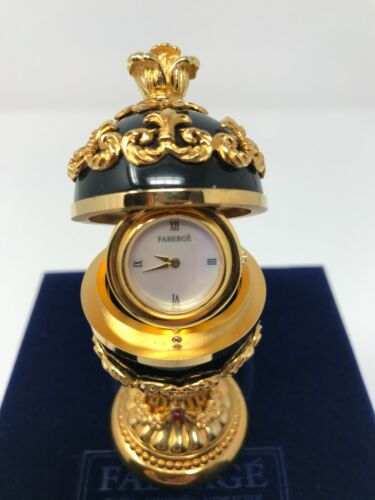 HOUSE OF FABERGE AUTHENTIC BLACK ONYX EGG CLOCK WITH BOX AND COA VERY RARE