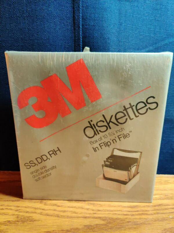 BOX OF 10- 5.25 DISKETTES- NEW SEALED! - 3M SS-DD-RH  051111-12084 FLIP N FILE!