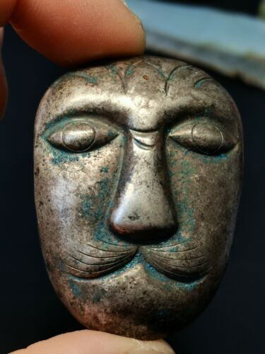 Chinese Silver masks amulets Erdos silver Human face mask