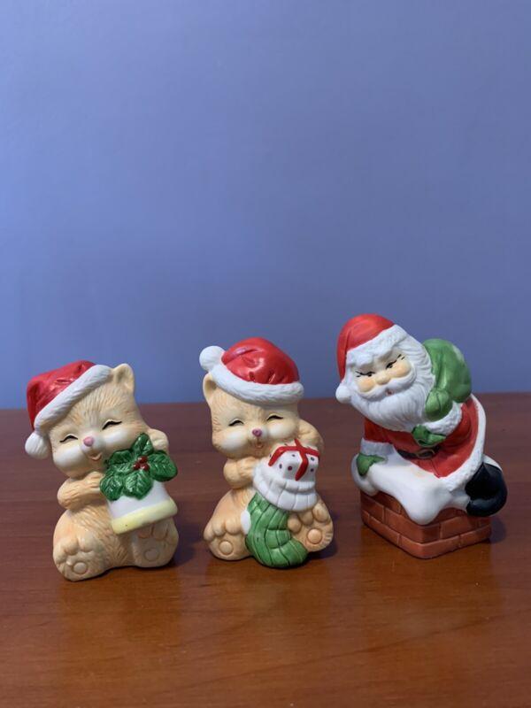 Flameco Santa and 2 Christmas Cats Figurines