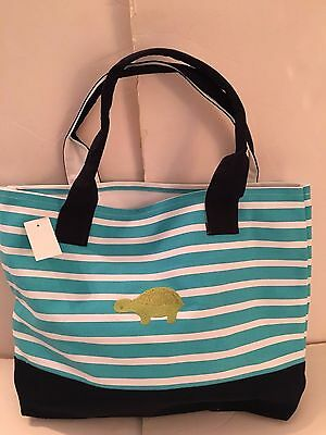 green Turtle CANVAS blue white STRIPED beach cotton tote bag EMBROIDERED NEW
