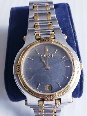 Gucci 9000m Vintage Watch Slate Dial 2 Tone Silver and Gold with Date. MINT!!!