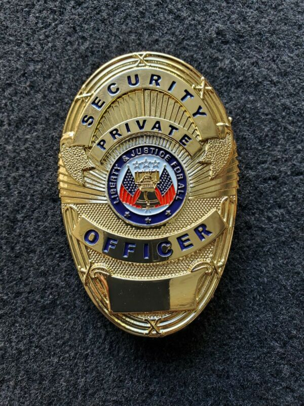 """Security """"Private Officer"""" Badge (GOLD, with American Flags)"""
