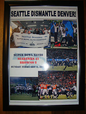 Seattle Seahawks 43 Denver Broncos 8 - 2014 Super Bowl - framed print