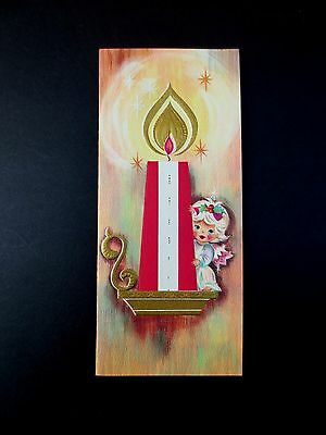 Vintage Unused Gold Embossed Xmas Greeting Card Precious Angel by a Tall Candle