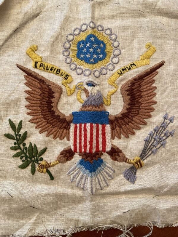 """Finished Crewel Embroidery Patriotic Theme American Eagle Round 11.5"""" Across"""