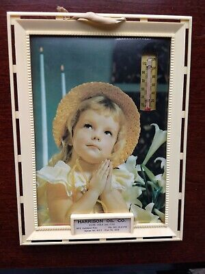 Vintage Advertising thermometer plaque; little girl saying her prayers