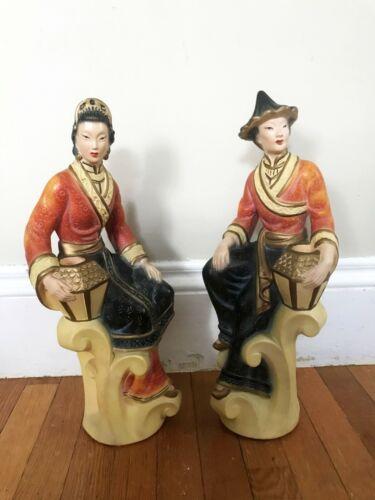 Vintage 1949 Asian Women American Art Industries Statue Candle Holders Chalkware