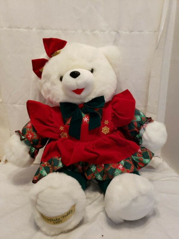 "1997 WalMART CHRISTMAS Snowflake TEDDY BEAR White Girl 22"" Red Outfit Good new"