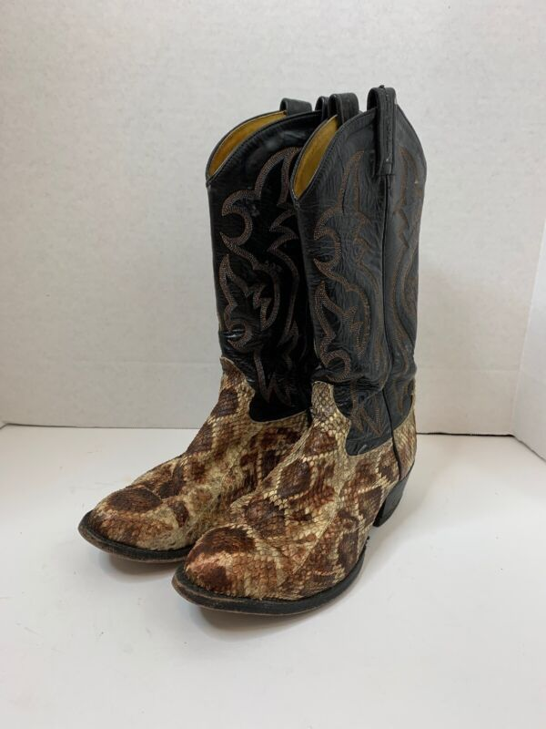 TONY, LAMA, Snakeskin, Cowboy, Boots, Exotic, Leather, Western, USA, Men's, 8, EE
