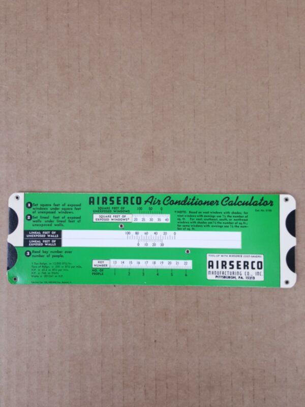 Vintage 1950 Airserco Air Conditioner Calculator Slide Chart