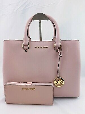 NWT Michael Kors Savannah Large Crossbody Handbag + Bi-fold Wallet Blossom