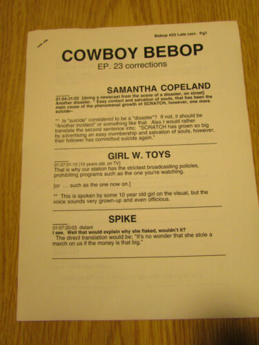 RARE 1-of-A-Kind COWBOY BEBOP Episode #23 Directors Script Corrections ANIME