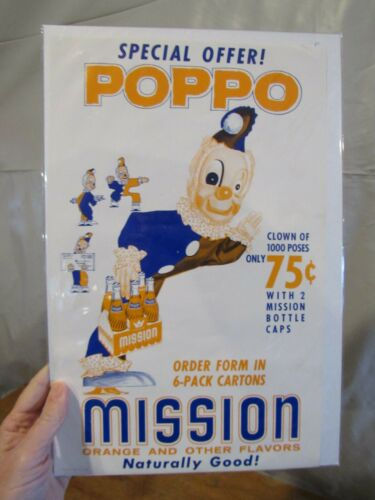 ORIGINAL VINTAGE 1948 MISSION ORANGE SIGN POPPO THE CLOWN SPECIAL OFFER NOS