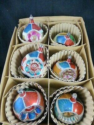 Jumbo Christmas Ornaments (Lot of 6 Vintage Jumbo Fantasia Indent Christmas ornaments  - European)