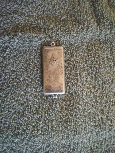 Engraved Masonic Calling Card Case  Sterling Pat. pend. NEEDS CLEANING