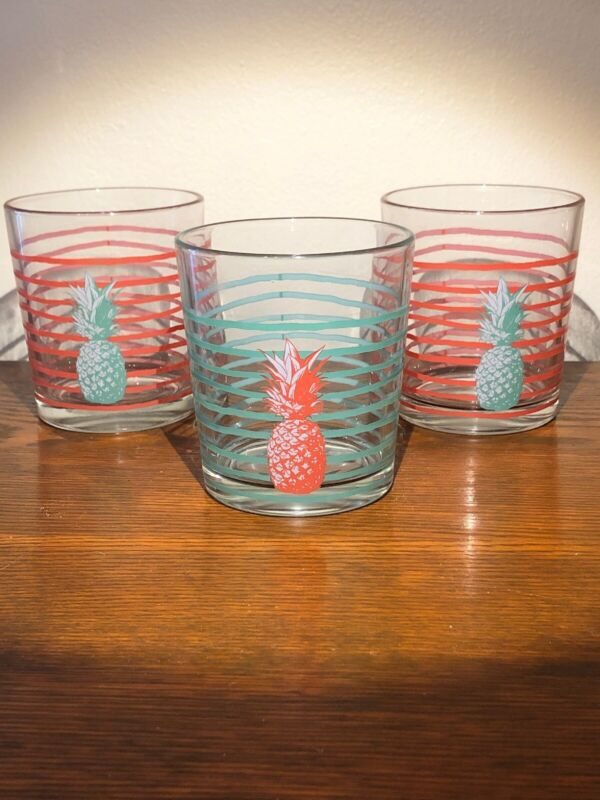 (3) Pineapple Whiskey Tumblers Retro Fun Stripes