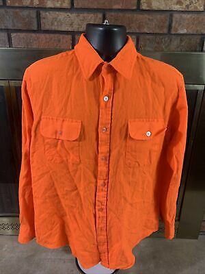 1970s Mens Shirt Styles – Vintage 70s Shirts for Guys Vintage 1970s Coleman Orange Collar Flannel Hunting Button Up Shirt Mens Large $28.60 AT vintagedancer.com
