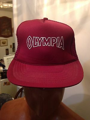 136e6ae1e46fc Vintage Trucker Hat Mesh Snapback Olympia Beer Tumwater Washington Red
