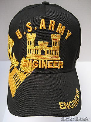 US ARMY ENGINEER VETERAN Cap/Hat New Black Military Free Shipping