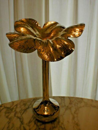 "Mid Century Unsigned MARILENA MARIOTTO Silver Plated Amaryllis Flower Vase 16"""