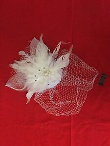 New White Wedding Fascinator with Feathers and Crystals
