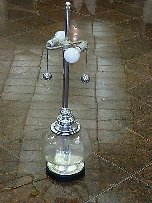 VINTAGE 70's HAND-BLOWN CLEAR GLASS VENETIAN? TABLE LAMP w/ CHROME FIXTURE ~ 31