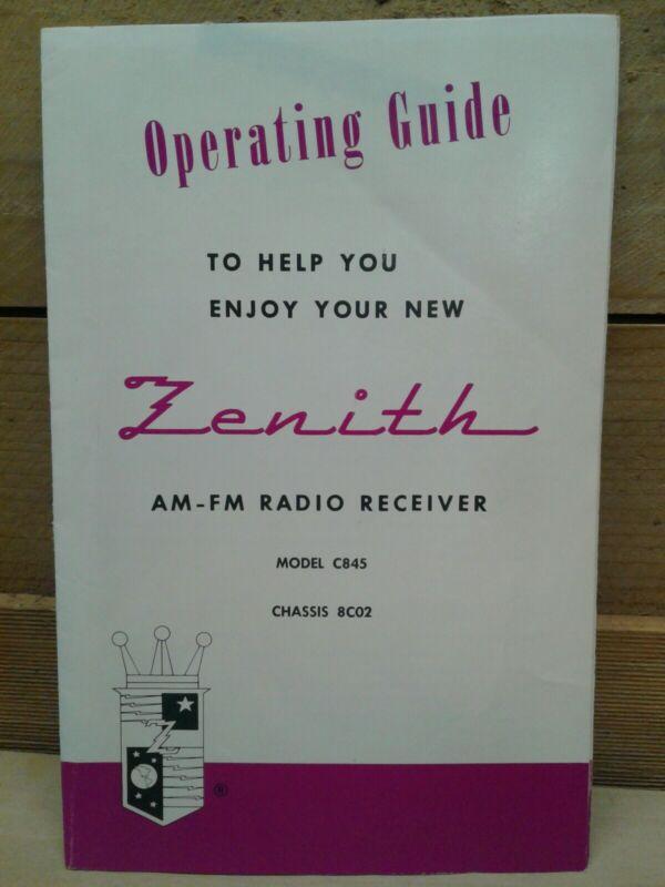Vintage Zenith C845 High Fidelity AM/FM  Radio MANUAL/INSTRUCTIONS