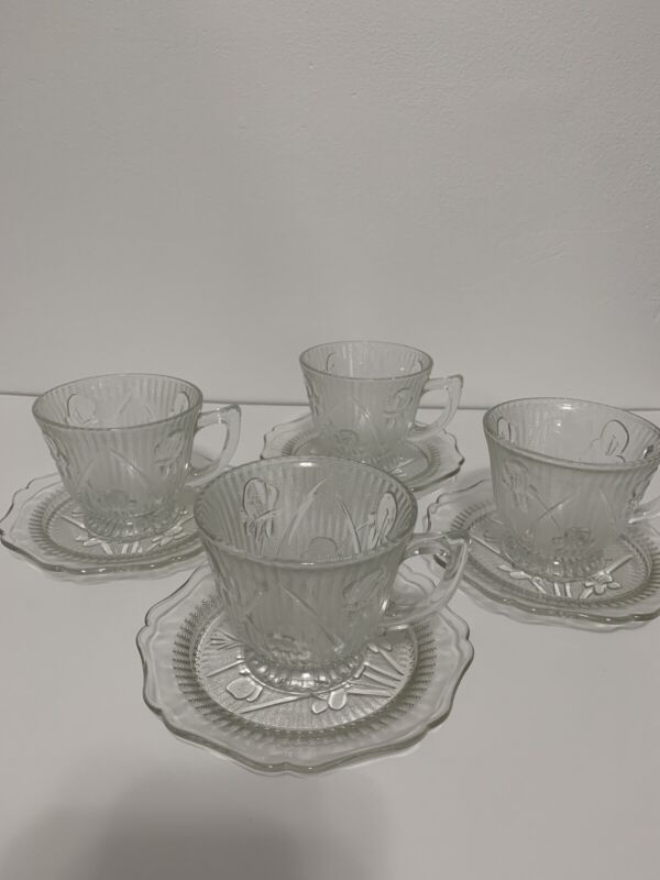 Jeannette Iris Herringbone Depression Glass Cup & Saucer Set of 4 Clear