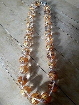 """540 ctw Hand Carved Clear Quartz Bead Necklace, 18""""  925 Clasp Gold Leaf Dragons"""