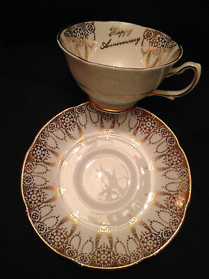 "Royal Grafton English Bone China Cup & Saucer ""Happy Anniversary"" Gold Laurel!"