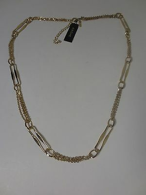 Cache Gold Double Chain Long Link Layering Necklace NWT $59